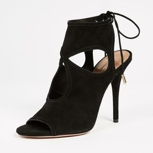 Aquazzura sexy thing cutout booties black suede
